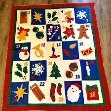 Quilted Christmas Advent Countdown Calendar Quilt 25 Days Of Christmas Red Green