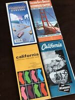 Lot Of 4 Vintage California Maps Travel Guides Milwaukee Road Train Redwood Emp