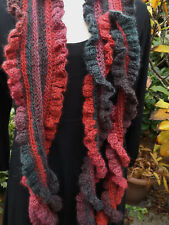 Long Frilly Crochet Scarf Berry Red Brown & Green Mix Handmade Wool Mix