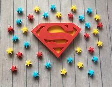 Hecho A Mano Comestible Sugarpaste Superman Cake Topper & 50 Estrellas-Superhéroe Cumpleaños