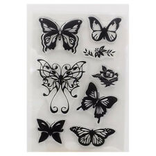Transparent Alphabet Butterfly Clear Rubber Stamp Sheet Cling Scrapbooking Seal#