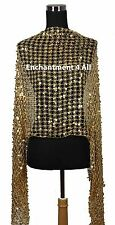 Sassy Oblong Crochet Net Stage Scarf Wrap Costume w/ Dazzling Sequins, Golden