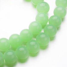 80 Light Green Glass Beads 4mm Imitation Jade - 1 Full Strand - BD1092