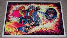 DEVIL RIDER Demon Chopper Motorcycle Biker Flocked Blacklight Poster 1970's
