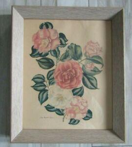 """Vintage Lila Moore Keen Framed Floral Art Print 12"""" x 10"""""""
