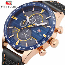New MINI FOCUS Chronograph Sports Watches Blue Quartz Watch Leather Wrist Watch