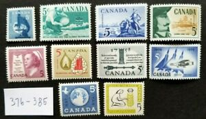 Canada LOT of 10 STAMPS 376 to 385 VF MNH OG *PO Fresh*