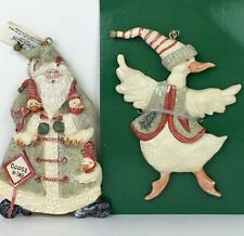 Kurt S. Adler Santa Claus and Christmas Goose Geese Ornaments Snow Creek