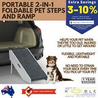 New Portable 2 in 1 Folding Pet Ramp Foldable Dog Cat Step Stairs for Car Bed RV