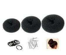 Lot de 3 couronnes cheveux chignon Donut, noir - 1 petite + 1 moyen + 1 grande