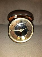 Vintage Elgin Folding Travel pocke Alarm Clock Wind Up Brown Case Japan Works 3""