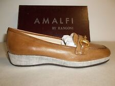 Amalfi by Rangoni Size 7 M Pescara Brown Leather Loafers New Womens Shoes
