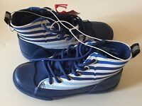 NWT Hunter for Target Blue Striped Dipped Canvas High Top Sneakers Kids Size 2