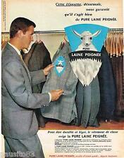 PUBLICITE ADVERTISING 095  1962  PURE LAINE PEIGNEE   costume homme