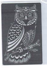 Stainless/Steel/stencil/Oblong/Owl/Bird/Emboss/Medium
