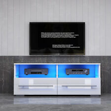 Modern 100cm TV Unit Stand Cabinet &  2 High Gloss Drawers Free LED Light