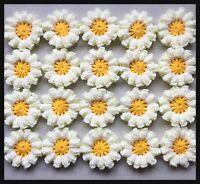 20 X NEW HANDMADE CROCHET FLOWERS IN YELLOW
