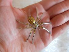 Beautiful Yellow Enamel Aurora Borealis Crystal Spider Brooch! Brand New!