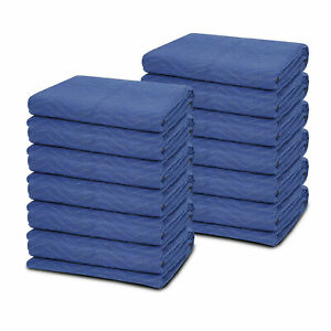 """12 Moving Blankets 80"""" x 72"""" (40 lb/dz) Quilted Shipping Furniture Pads Bl/Blk"""