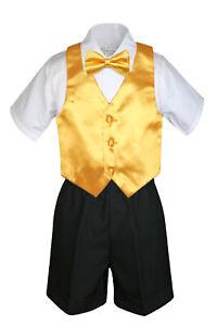 4pc Boy Baby Toddler Wedding Formal BLACK Shorts Outfit + Choose Color Vest Set
