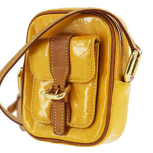 LOUIS VUITTON Christie PM Shoulder Bag Vernis Yellow M91110 Authentic #AC1 Y