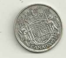 1945 WD CANADA 80% SILVER 50 CENT  die crack thru the 5 #2 + doubling on date