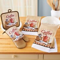 4 Piece Coffee Lover Kitchen Towel Set with Oven Mitt & Pot Holder