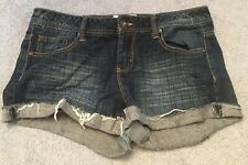 So Shortie Booty Denim Shorts Size 11 Blue Distressed Cuffed Fading Juniors