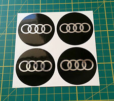 4 x 110mm ALLOY WHEEL STICKERS audi logo Chrome Effect on Black centre cap badge
