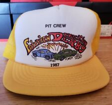 Vintage 1980s Demolition Derby Trucker Hat NASCAR Racing Pit Crew Formula 1 NEW