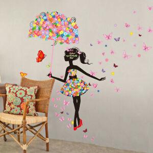 Umbrella Girl Wall Stickers Nursery kids baby Room Vinyl Art Decal DIY Decor