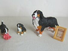 Miniature Bernese Mountain Dog Mom & 2 Puppies Figurines Toy + Accessories