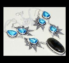 NEW - LABRADORITE AND BLUE TOPAZ ANTIQUE SILVER NECKLACE & EARRINGS SET