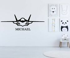 Personalised Fighter Plane Vinyl art Wall décor Sticker Decal removable
