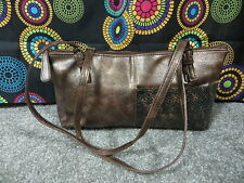 Braciano Bronze Distressed Look Shouder Bag w/Leaf Design & Double Adj. Straps