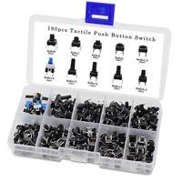 180PCS 10 Values Tactile Push Button Switch Mini Momentary Tact Assortment