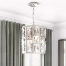 Home Decorators Kristella 1-Light Height Adjustable Chrome and Crystal Pendant