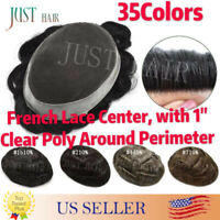 Mens Toupee French Lace Poly Around Skin Hairpiece Human Hair Replacement System