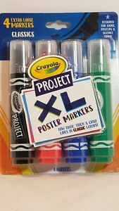 Crayola Project XL Oversized Poster Markers - Black, Red, Blue, Green - Low Odor