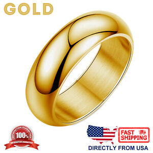 Stainless Steel 7mm Dome Ring Polished Comfort Fit Men's & Women's Wedding Band