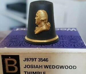 Josiah Wedgwood Black And Gold Jasperware Thimble In Orginal Box