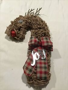 Light -up Handmade Reindeer Door Wreath (Lights are Green)