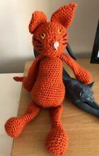 "Handmade Soft Plush Toy Crochet Cat Ginger Tom Puss aprox 15"" long Wool mix yarn"
