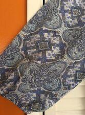 2X New Floral Tribal Blue White TUNIC BOHO PEASANT TOP BLOUSE Vintage  20/22/24