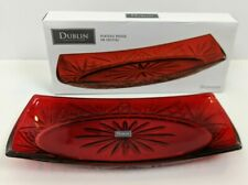 Dublin Collection Red Crystal Tray - Shannon by Godinger