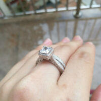 Wedding Engagement Ring Set For Women Princess AAA Cz 925 Sterling Silver Size 8