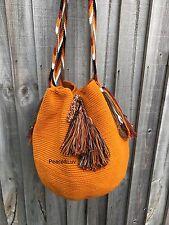 Authentique Colombian Wayuu Mochila dos hebra Unicolor Rusty yellow