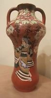 rare antique early 1800's handmade Japanese porcelain moriage figural vase pot