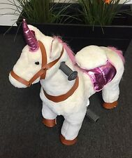 "Fun UNICORN Plush Ride On scooter by Giddy Up Rides ''PINK/WHITE"" 2-5 Yrs (01F)"