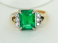 VINTAGE 14K  GOLD RING 1.95CT. GEM GREEN EMERALD